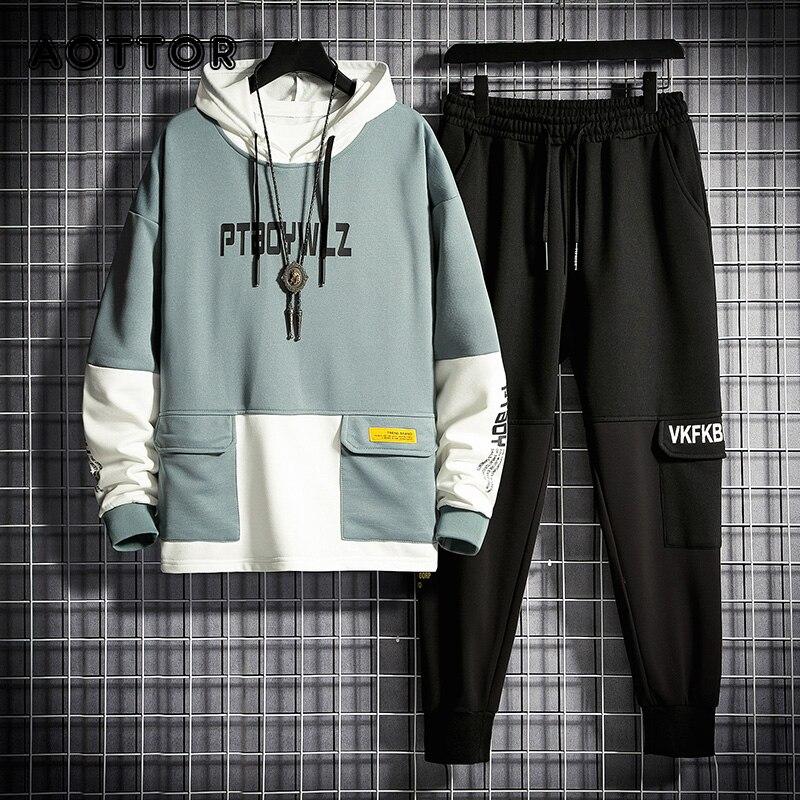 Костюм спортивный мужской из флиса и брюк, кофта с капюшоном и штаны в стиле пэчворк, тренировочный комплект из двух предметов, спортивная о...