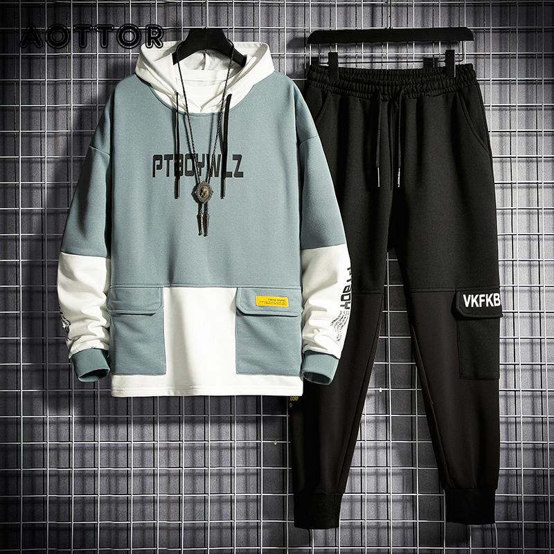 Men Tracksuit Jogging Suit Patchwork Hoodies Set Male Fleece Hoodies+Pants Workout Two Piece Sets Gym Sportswear Suit Clothing