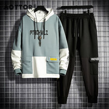 Homem agasalho jogging terno retalhos hoodies conjunto masculino velo hoodies + calças treino conjuntos de duas peças ginásio roupas esportivas terno