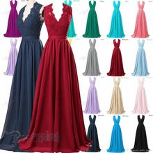 Cheap Long Evening Dress 2020 Lace V-Neck Bridesmaid Formal Gown Ball Party Evening Prom Dresses women dress long party ball prom gown sleeveless formal bridesmaid lace dresses