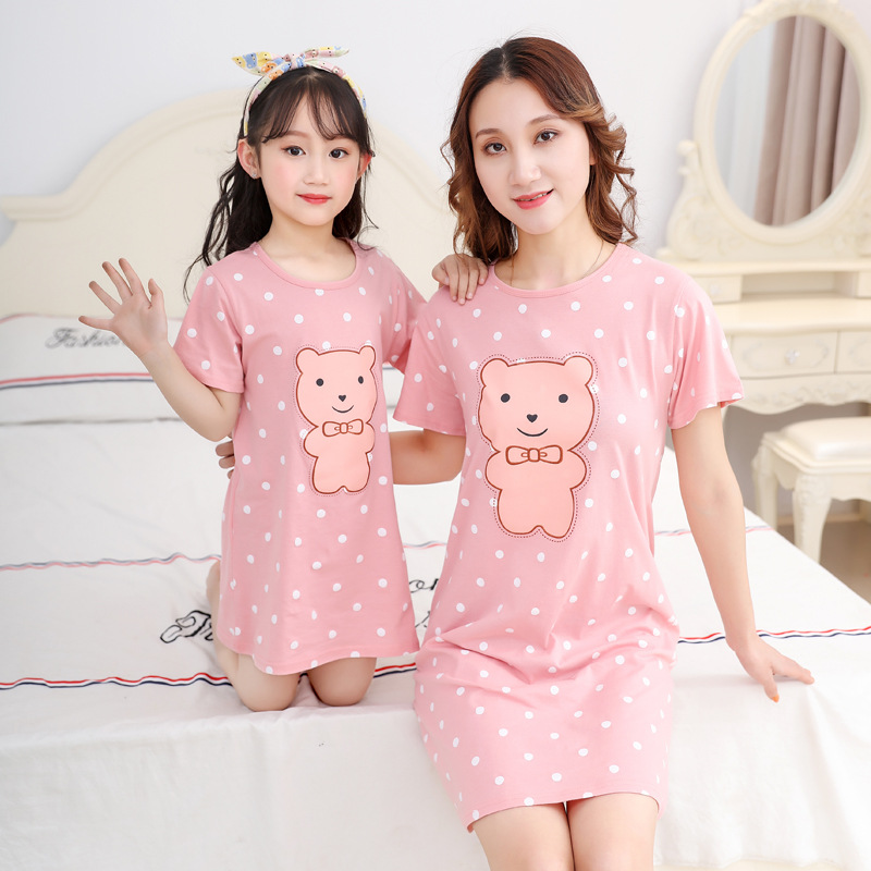 Mother Daughter Dresses Summer Cotton Family Matching Outfit Cartoon Dressing Gown Matching Pajamas Short-sleeves Girl Sleepwear