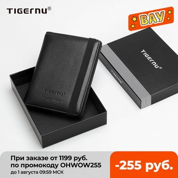 Tigernu Genuine Leather Passport Cover Business RFID Anti theft Men Card & ID Holder Wallets For Men Mini Money Bags Male Purses 1