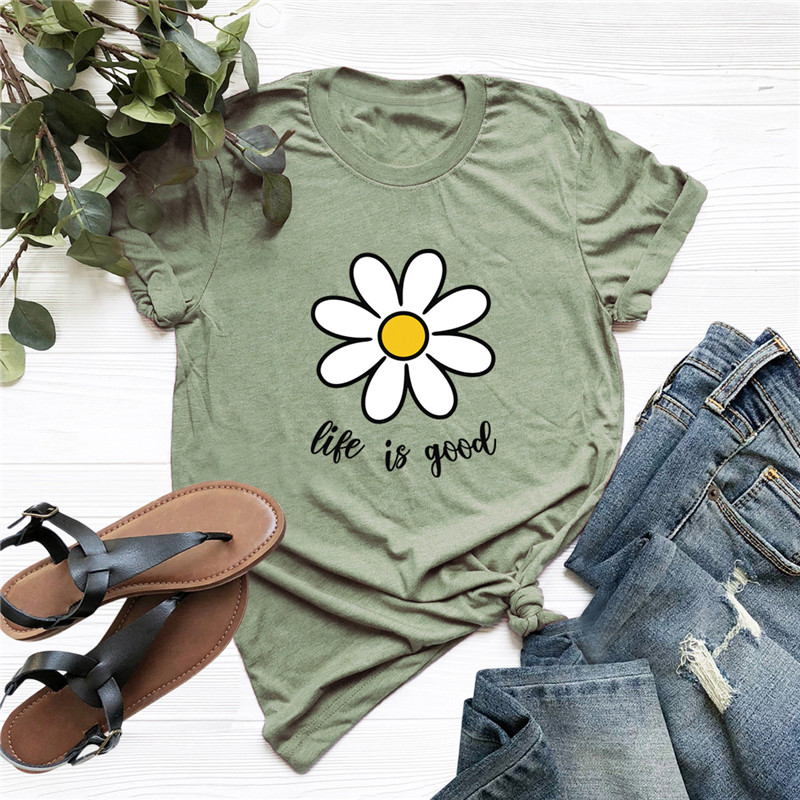 Plus Size TShirts Fashion Flower Print Women Shirts 100%Cotton O Neck Short Sleeve T-Shirt Women T Shirt Summer Tees Tops S-5XL 1