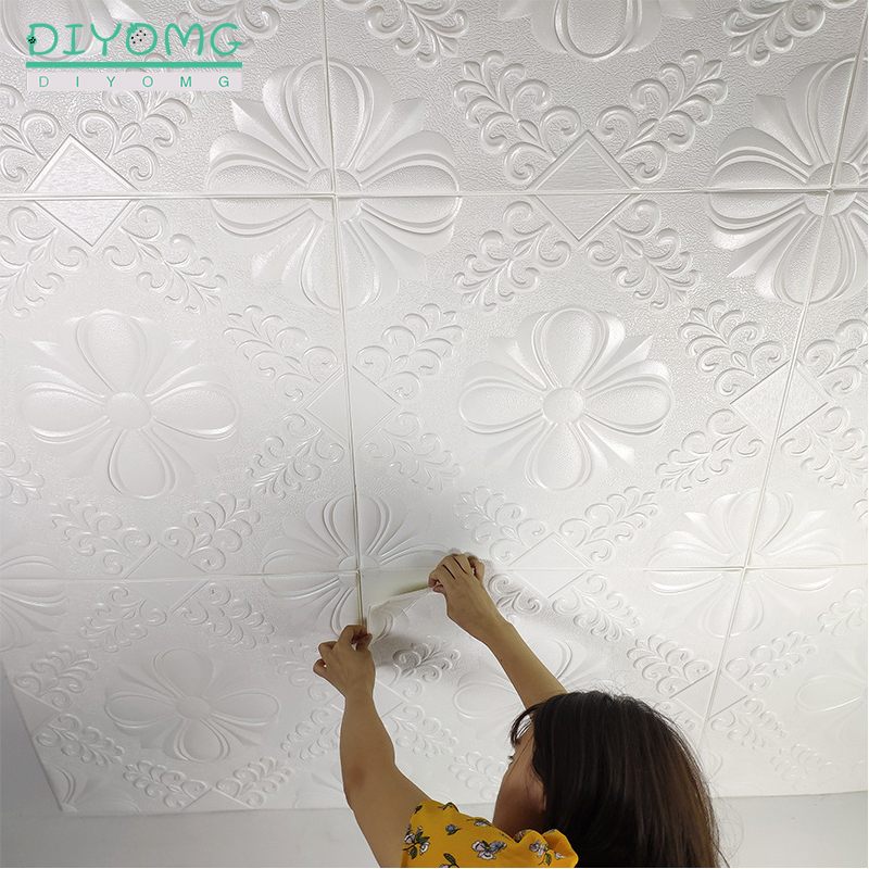 New Roof Ceiling Decoration 3D Wallpaper Waterproof Self-adhesive Wall Stickers Roof Ceiling Contact Paper Decor Embossed Decals