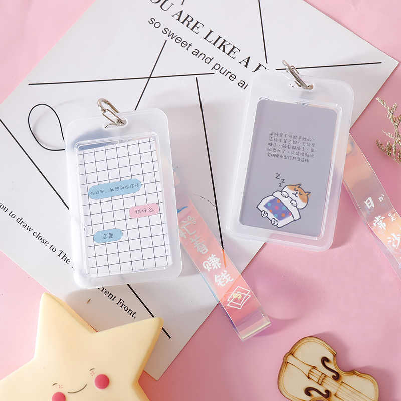Cartoon Card Cover Kawaii Portable Laser Rope Badge Card Holder Nurse Doctor Key ID Name Card Badge Holder School Office Supply