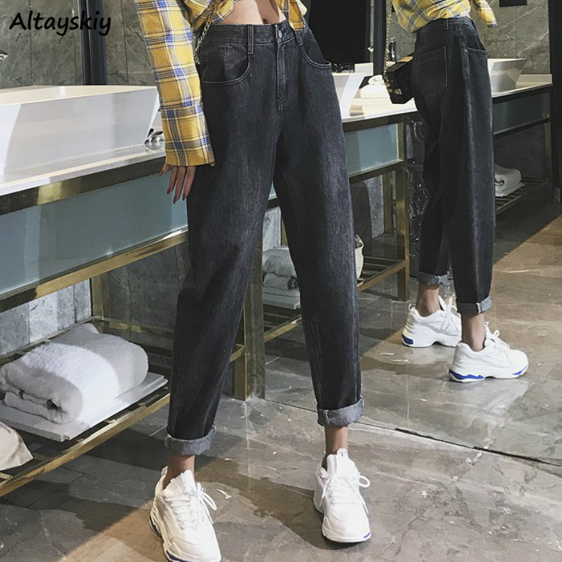 Jeans Women Spring Black High Waist Harem Oversize Vintage Retro BF Streetwear Turnip Trouser Daily Womens Jean Popular Cool Hot
