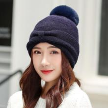 Winter Warm Hat Female Thick Woolen Knit Beanei With Bow Solid Color Trendy Big Knit Ball Ladies Hats Protect Ear Caps