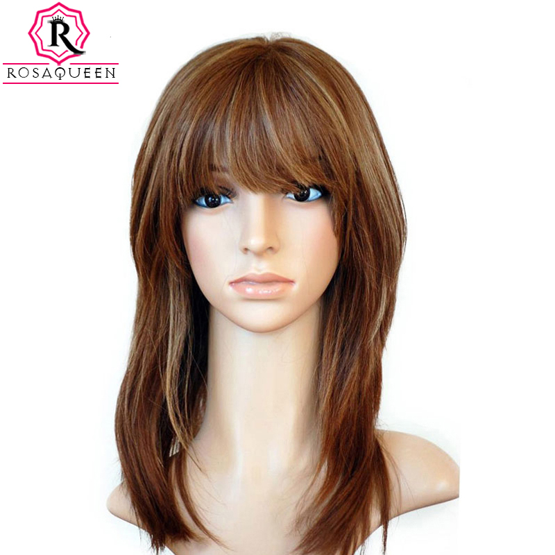 Jewish Wig With Bangs Kosher European Virgin Hair Silk Base Lace Front Human Hair Wigs Rosa Queen