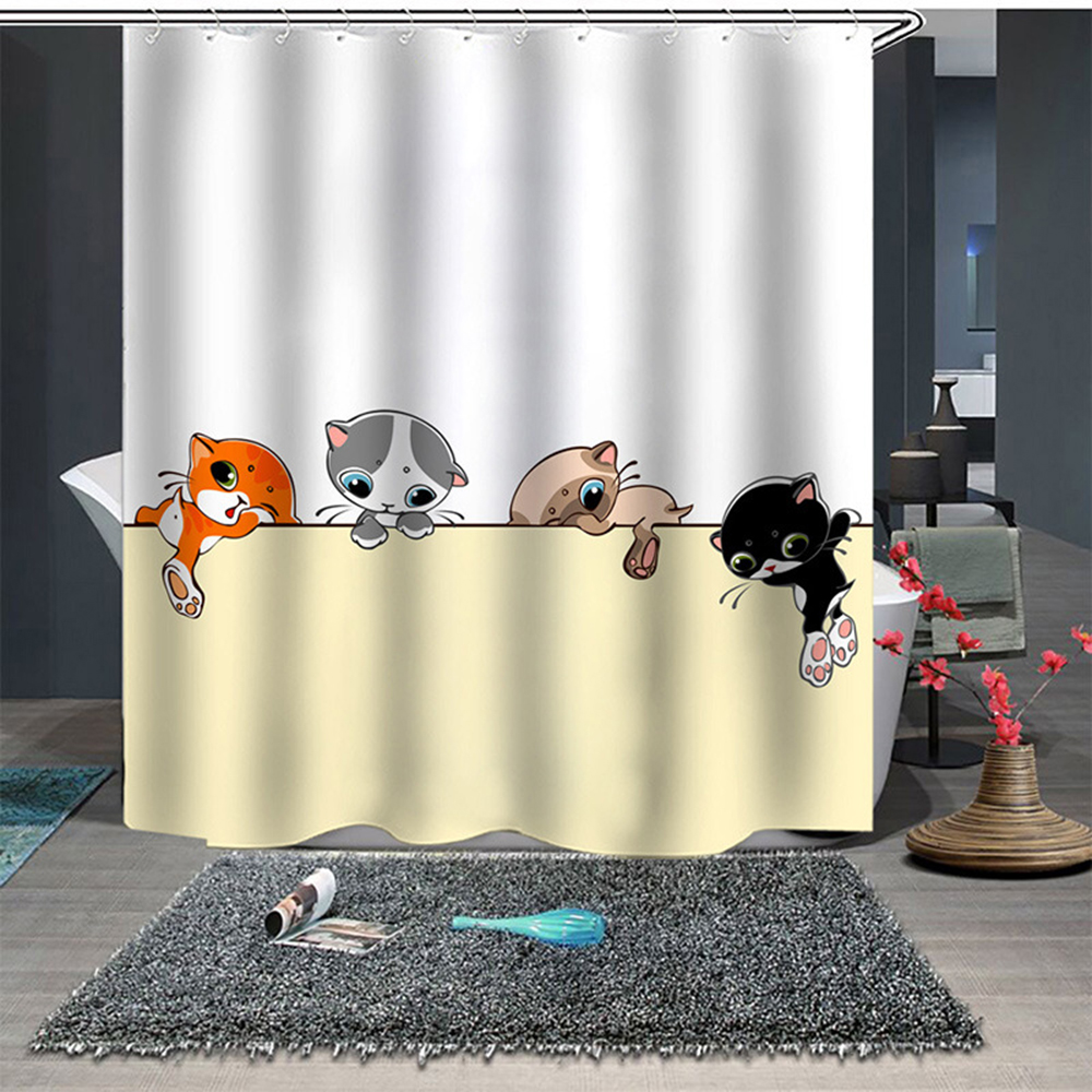 "Animal Theme Shower Curtain Waterproof Fabric Cute cat and toothbrush /& Hook 70/"""