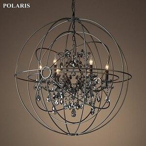 Image 5 - Candelabro de cristal de humo, iluminación Vintage, candelabros de vela negra Orb, luz colgante