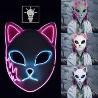 Anime Masken Dämon Slayer Sabito Kamado Tanjirou Makomo Mascarilla Cosplay Maske Halloween Party LED Maske Cosplay Requisiten Masques
