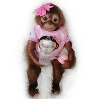 20 Inch Silicone Reborn Baby Monkey Girls Boys Handmade Reborn Monkey Soft Silicone Vinyl Flexible Collectible Art Doll