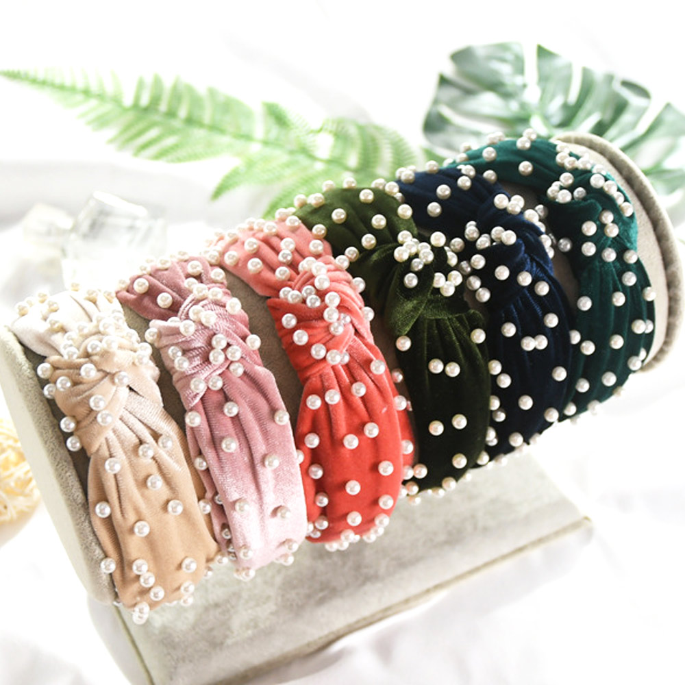 TYRY.HU Hot Pearl Hair Accessories Headbands For Women Bezel Hair Loop Simple Bow Turban Headbands Fashion Style Girl Hairband