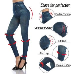 Image 3 - נשים Slim אופנה חותלות פו ג ינס ג ינס אישה כושר מכנסיים Jeggings חותלות הדפסה מזדמן מכנסי עיפרון בתוספת גודל