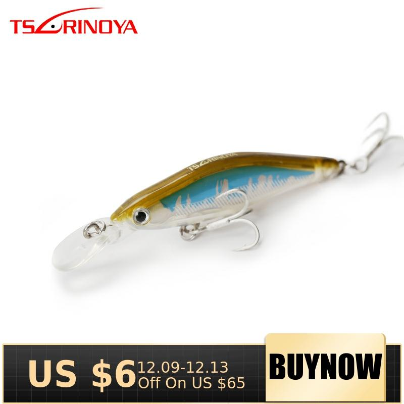 TSURINOYA Fishing Lure DW41 65mm 6.0g Sinking Minnow Depth 0.8-1.2m Hard Lures Artificial Bait With Treble Hook