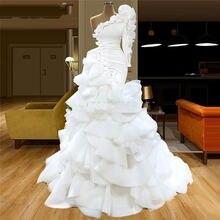 Элегантное бальное платье юбка годе белое для выпускного вечера
