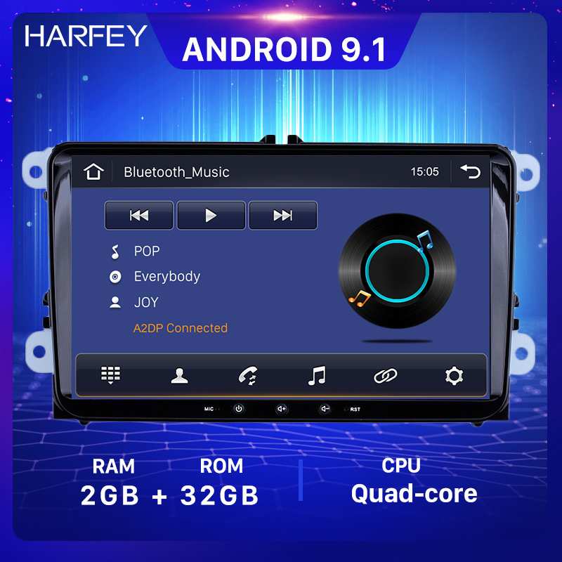 Harfey 2din 9inch GPS Navi Car <font><b>Multimedia</b></font> Player Android 9.1 Auto Radio For Skoda/Seat/<font><b>Volkswagen</b></font>/VW/Passat b7/POLO/<font><b>GOLF</b></font> 5 <font><b>6</b></font> image