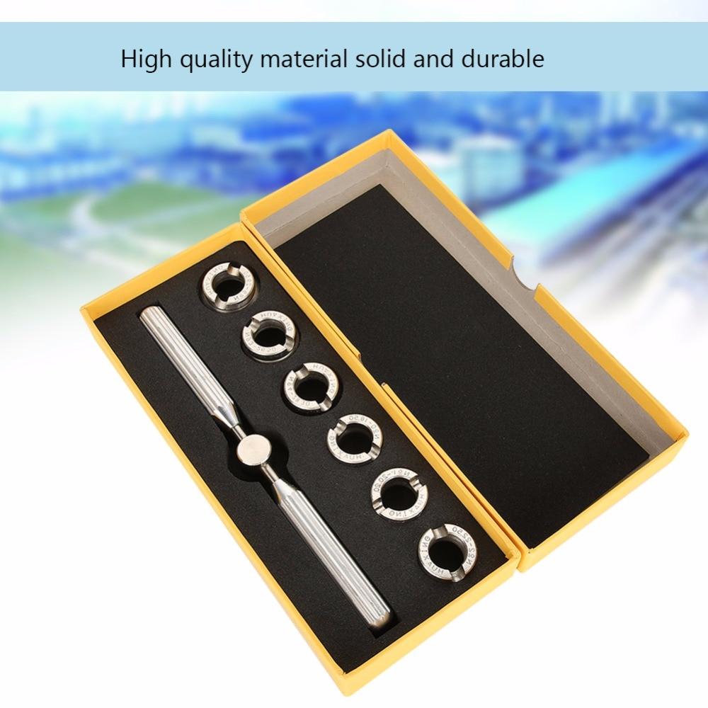 Набор инструментов для часов, 7 шт., чехол для задней панели часов, набор открывалок для снятия ключей + 6 штампов, аксессуары для ремонта часо...