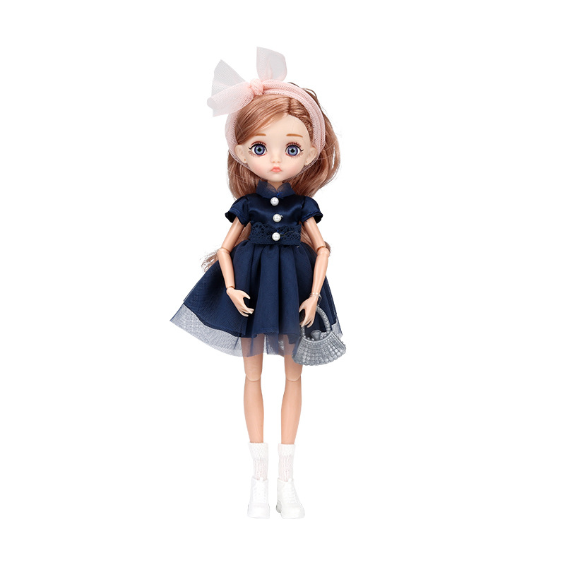 26cm 1/6 Bjd Doll With Clothes Blue 3D Eyes 11 Movable Joints Eyelashes Long Hair Wig Dress Up DIY Toy For Girls Fahsion Gift 8
