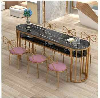New manicure table single double simple modern manicure table round double table economic manicure table chair set