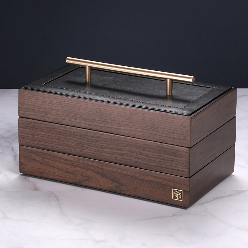 Casegrace 2019 New Wooden Jewelry Box With Handle Three-layer Storage Jewelry Organizer Carrying Cases Women Rings Necklace Box