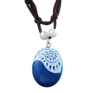 Image 1 - 20 pçs/lote moda jóias filme charme moana oceano corda corrente colares pedra azul pingentes couro camurça gargantilha colar