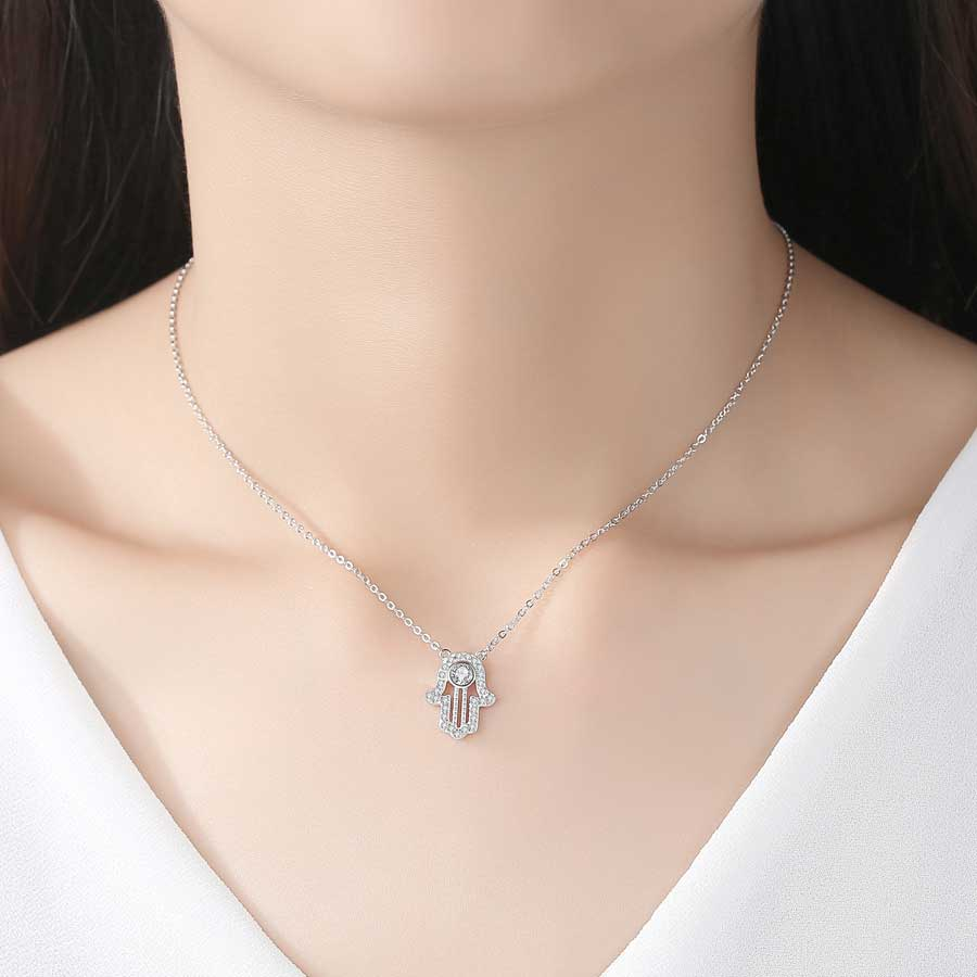 Image 5 - TONGZHE 925 sterling Silver Hand Hamsa Necklace Women Lucky Fatima Link Chain Long Initial Necklace Turkey Jewelry 2019 Choker-in Pendant Necklaces from Jewelry & Accessories
