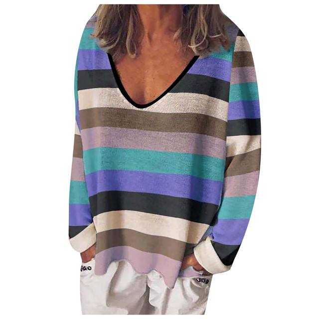 Fashion Rainbow Stripe Blouse For Women Autumn 2021 Multicolor V-neck Long Sleeve Female Blouse Tops Casual Loose Blusas Блузки 1