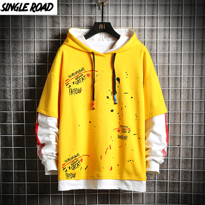 SingleRoad Men's Hoodies Anime Oversized Graffiti Print Hip Hop Harajuku Japanese Streetwear Yellow Hoodie Men Sweatshirt Male