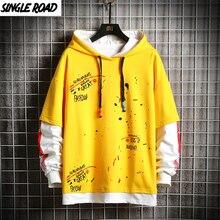 Singleroad男性のパーカーアニメ特大グラフィティプリントヒップホップ原宿日本ストリート黄色パーカーメンズシャツ男性