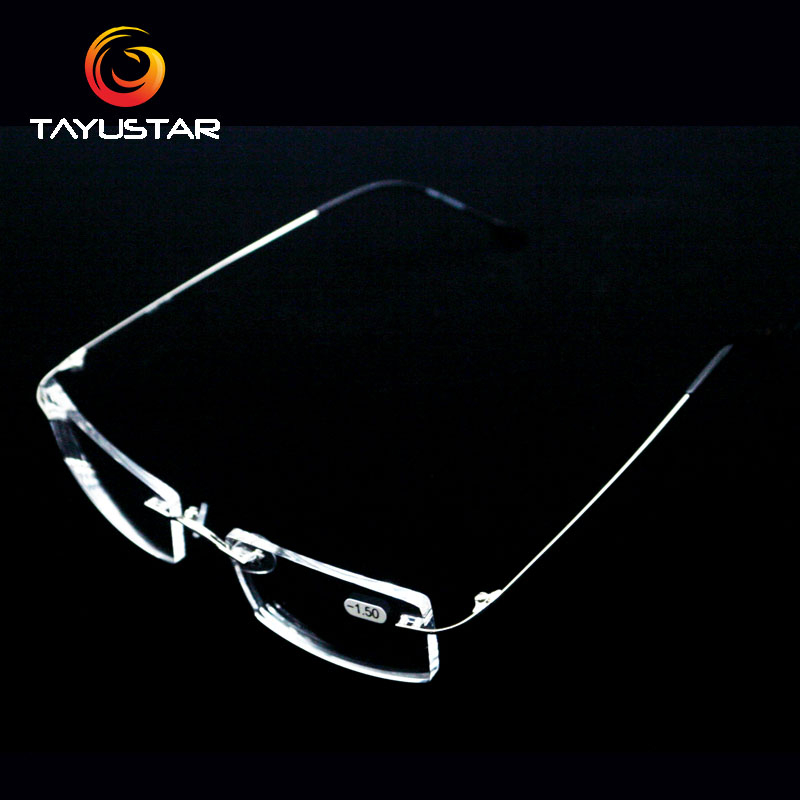 Titanium Alloy Glasses Frame Rimless Eyeglasses Myopia Prescription Eyeglasses Men Women Myopia Glasses -1.50 -2.00 -2.50