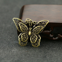 Vintage Butterfly Statue Figurine Pure Brass Charm Rich Wealth Amulet Mini Lot Pendants Keychain DIY Accessories Jewelry Making