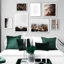 Natural Mountain Forest Tree Plant Quotes Wall Art Canvas Painting Nordic Posters And Prints Pictures For Living Room Decor