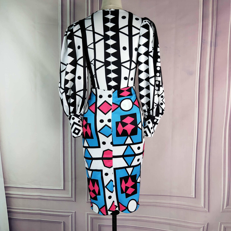 נקבה כחול מודפס למתוח הברך אורך חצאית 2020 אביב קיץ חדש גיאומטרי גבוה מותן בציר נדן נהיגה לראשונה חצאית faldas mujer moda