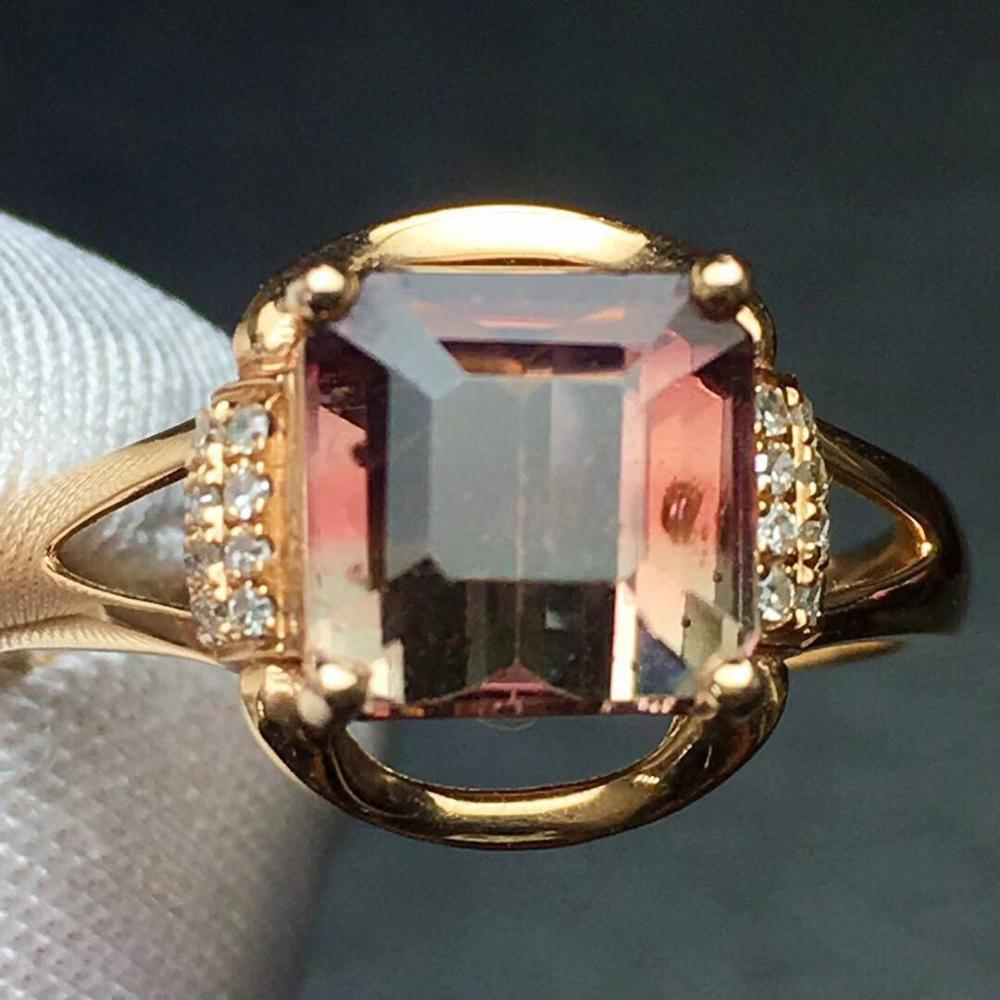 <font><b>Watermelon</b></font> <font><b>Tourmaline</b></font> <font><b>Ring</b></font> 18K Gold AU750 100% Natural <font><b>Watermelon</b></font> <font><b>Tourmaline</b></font> 3.5ct Gemstone Female <font><b>Rings</b></font> for Women Fine <font><b>Ring</b></font> image