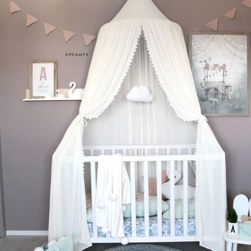 Chiffon Babykamer Klamboe Kid bed gordijn canopy Ronde Crib Netting tent baldachin 240cm Decoratie slaapkamer meisje luifel cot