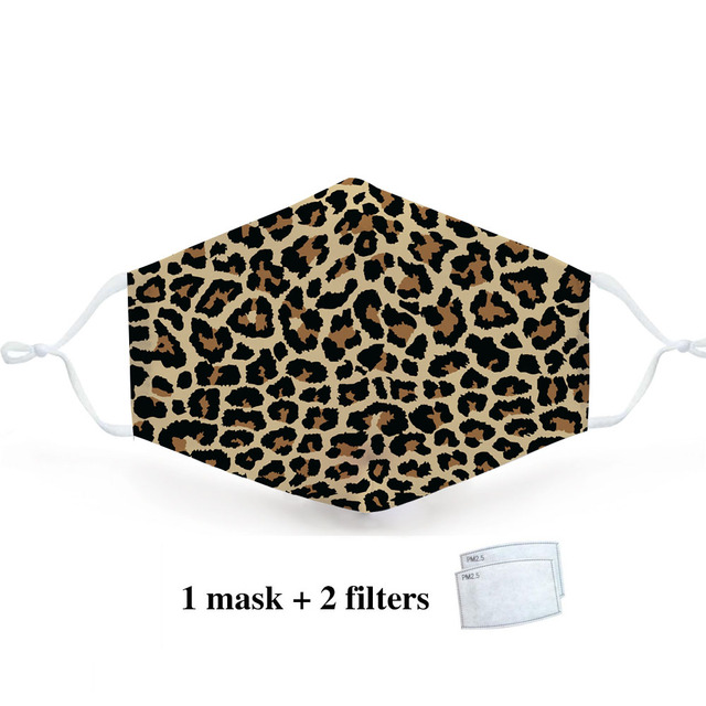 Leopard Animal Print Fashion Mask Reusable Protective PM2.5 Filter Zabra Printing mouth Mask Face mask bacteria proof Flu Mask 3