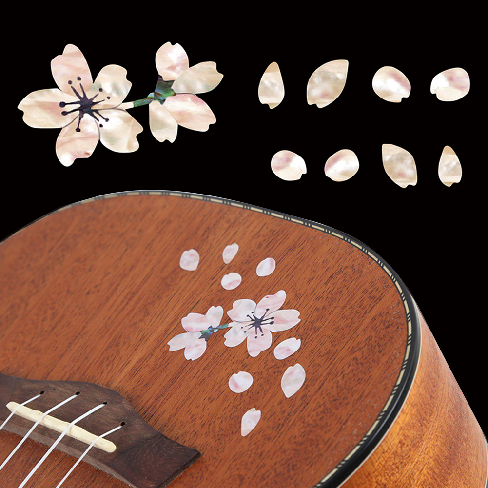 Mini Cherry Blossom Guitar Stickers Self Adhesive  Removable Cute Decals Floral Body Ukulele Decoration Bass Stickers #2