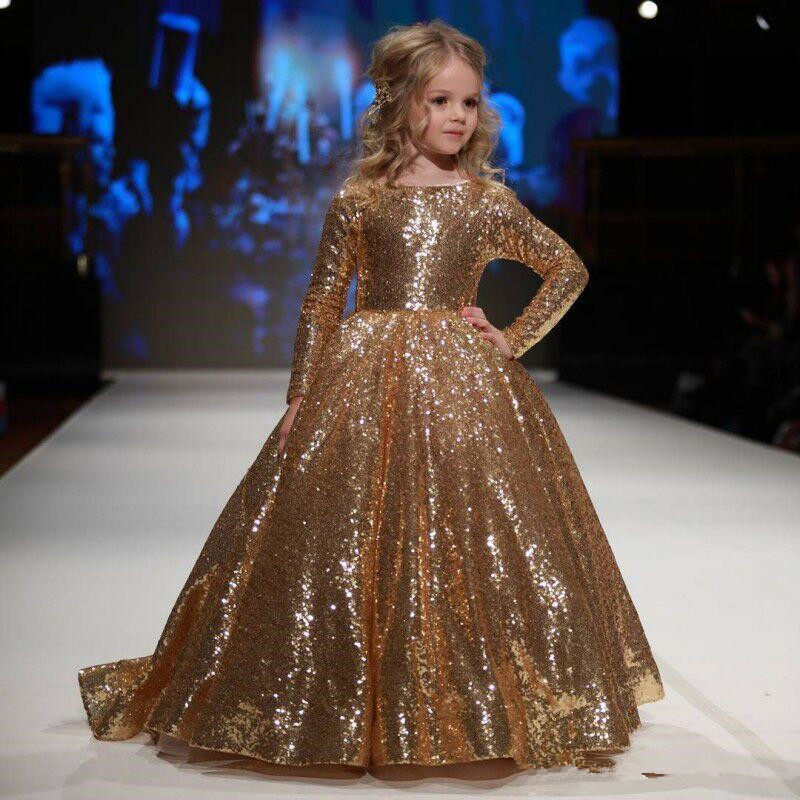Sparkly Gold Ball Gown Sequined Flower Girls Dresses With Long Sleeves For Weddings Toddler Pageant Gowns Floor Length