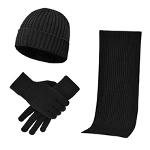 Gloves-Set Scarf Beanie Hat Knitted Winter Women Warm 3pcs Neck-Protection Elastic Soft