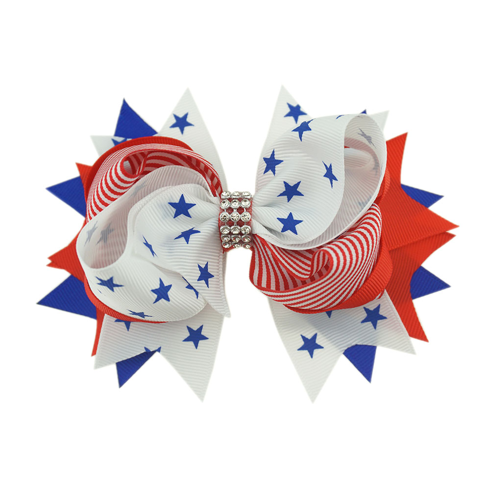 Your Bows 1PC 4th Of July Boutique Bows Hairpins Bling bling Girls Hair Bows Children Hair Clips Fastion Kids Hair Accessories