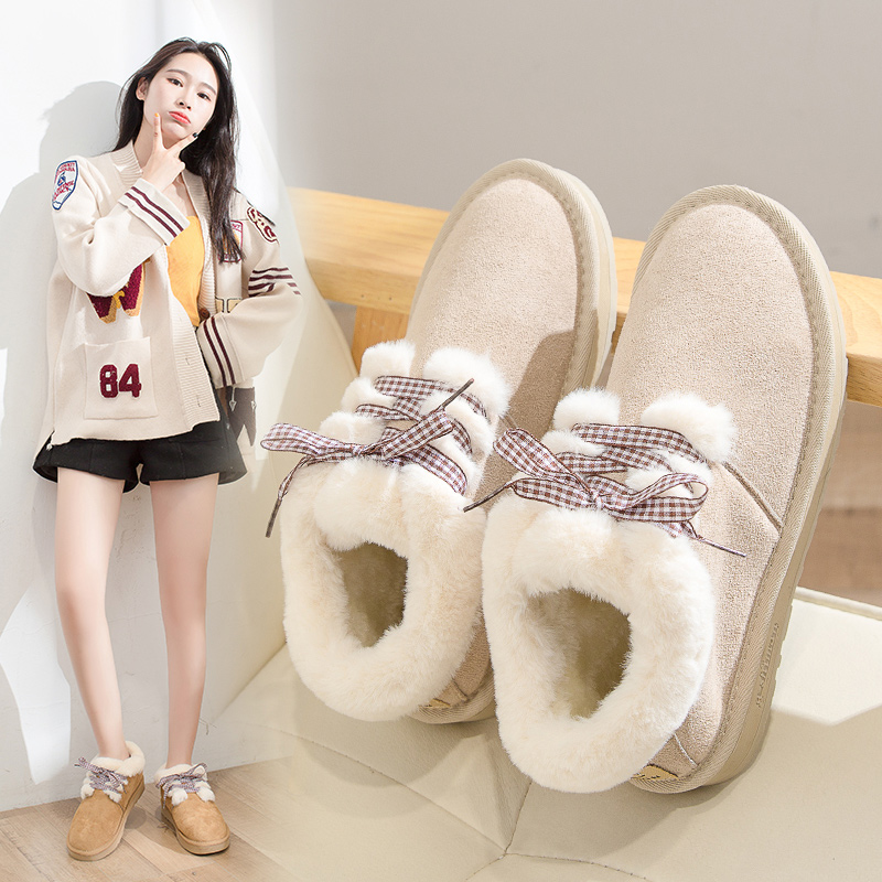 2019 Women Snow Boots Winter Warm Plush Insole Flat Ankle Boots New Fashion Lace-Up Casual Flock Women Shoes 51