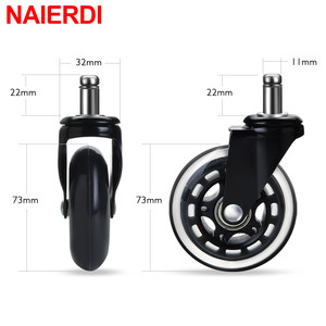 Image 5 - NAIERDI 5PCS Office Chair Caster Wheels 3 Inch Swivel Rubber Caster Wheels Replacement Soft Safe Rollers Furniture Hardware