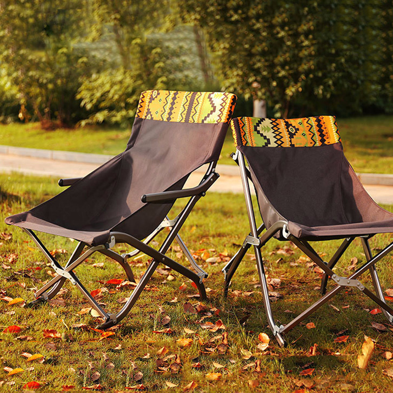 Ergonomic Outdoor Beach Chair Camping Portable Folding Chair Folding Aluminum Fishing Chair Beach Leisure Folding Lazy Chair