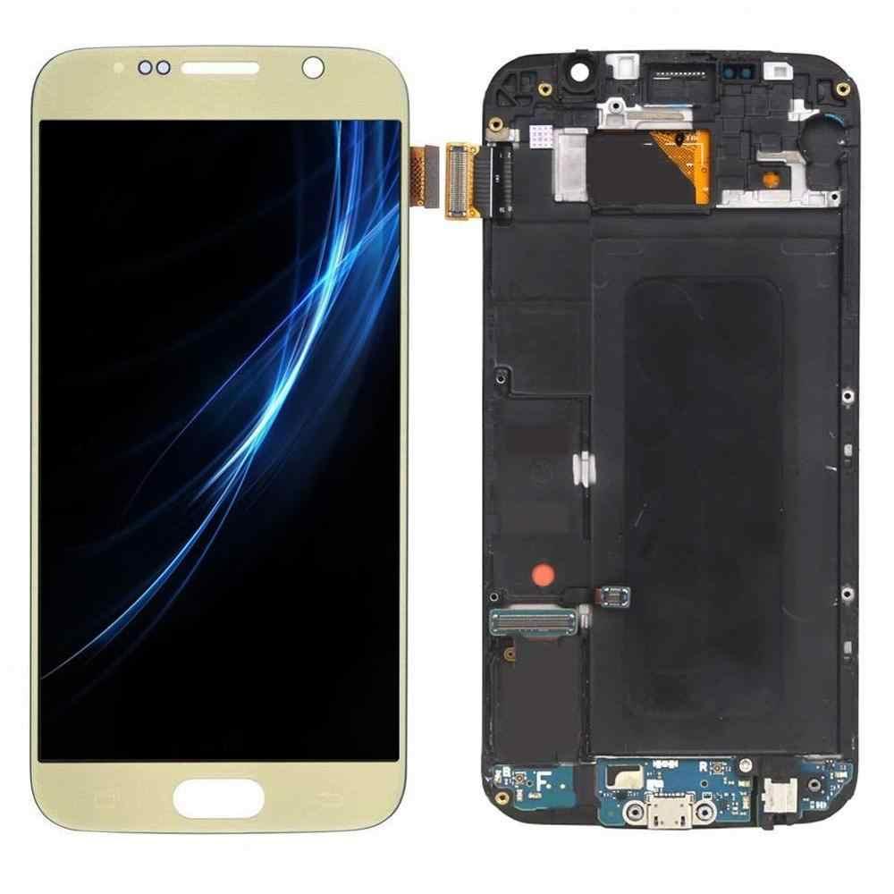 5.1 סנטימטרים עם מסגרת lcd עבור samsung S6 מסך G920 G920F G920V G920A LCD תצוגה עם מסך מגע digitizer עצרת patrs