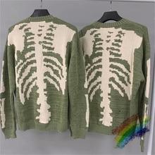 Loose Hole KAPITAL Skeleton Bone Printing Sweater Men Woman 1:1 Best Quality Crewneck Nice Washed Vintage Green Sweatshirts