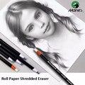 Maries 10/12 pces conjunto 5/7mm bonito rolo de papel triturado borracha lápis corpo esboço profissional borracha borrachas kawaii material escolar