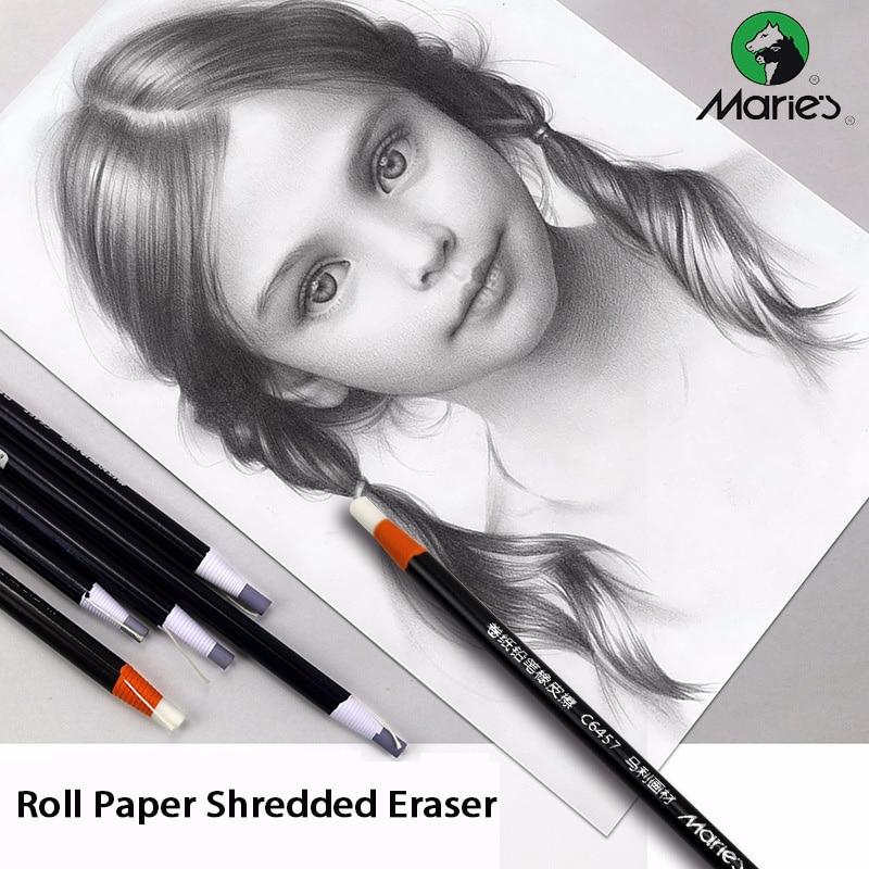 Maries 10/12PCS Set 5/7mm Cute Roll Paper Shredded Eraser Pencil Body Professional Sketch Rubber Erasers Kawaii School Supplies