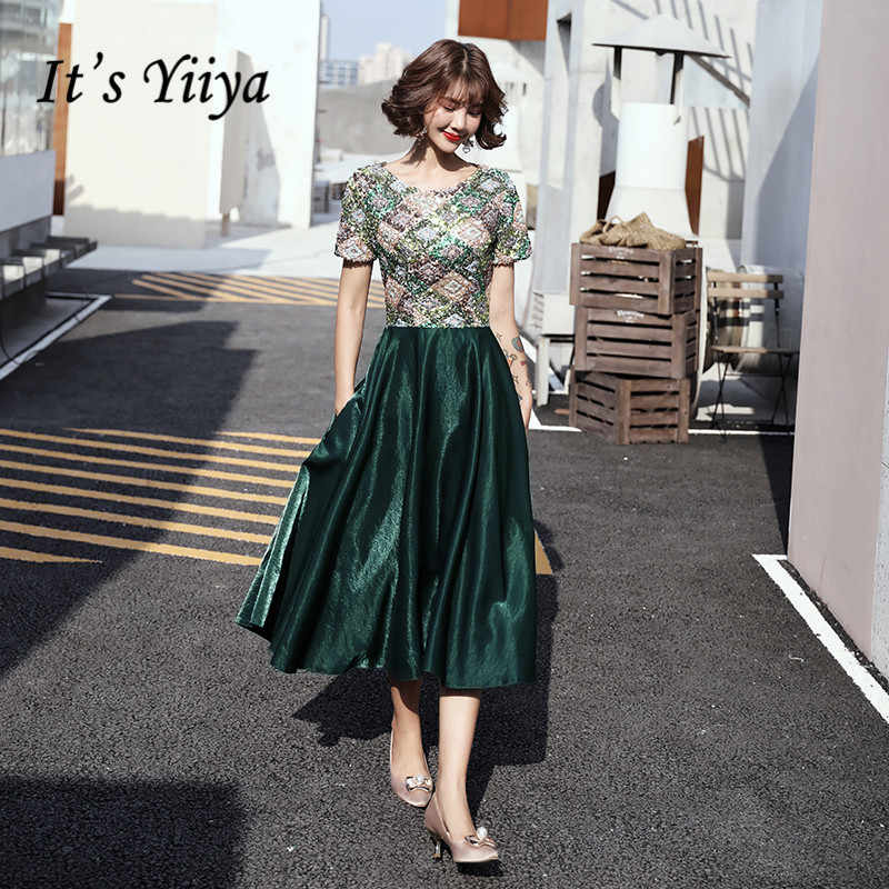 זה Yiiya שמלות נשף אלגנטי O-צוואר פאייטים ירוק vestidos דה גאלה בתוספת גודל רוכסן תה אורך שמלת נשים המפלגה הלילה LF132