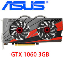 Asus original gtx 1060 3gb placas gráficas 192bit gddr5 placa de vídeo para nvidia placas vga geforce gtx1060 usado 1050 ti 750 960 950